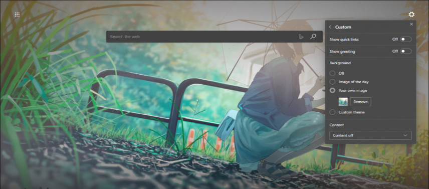 Custom Background on the New Tab Page